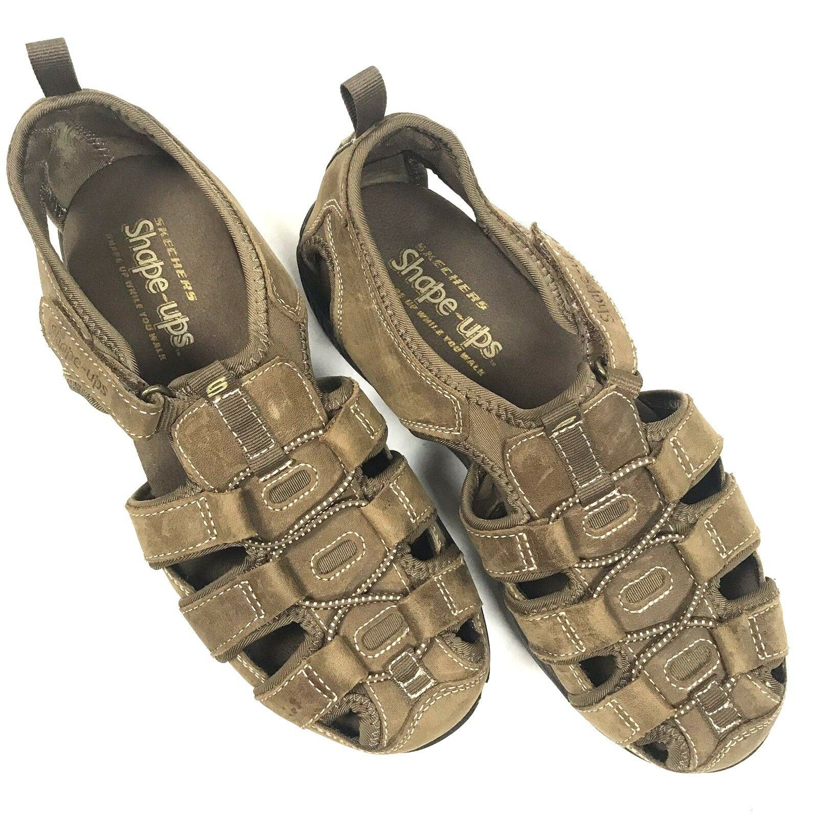 Sketchers Shape Ups Women's Sandals Size 8 Brown Tan Toning Walking Spell Out