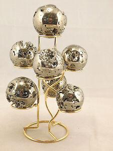 A-Neat-SEVEN-Sphere-Egg-Golf-Ball-or-Whatever-BRASS-or-Gold-Display-Stand