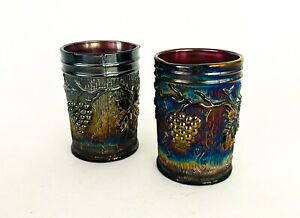 Antique-Amethyst-Iridescent-Carnival-Glass-Cup-Tumbler-Dugan-Vineyard-Pattern