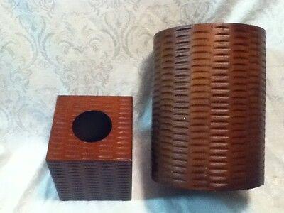 VINTAGE TIKI Tissue Kleenex Wood Panel Bed Bath Office Trash Waste Basket Weave