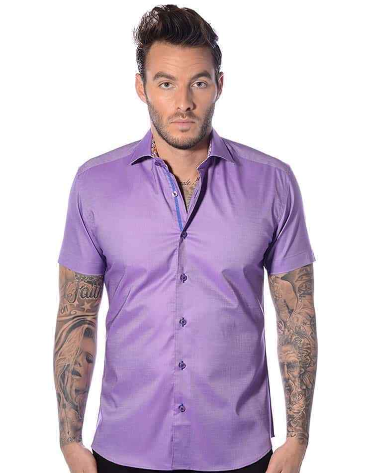 Bertigo MIO 06 short sleeve purple shirt size 8 or 4XL