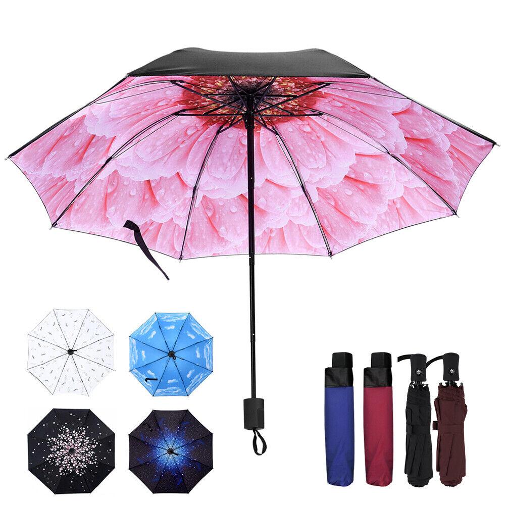 Compact Auto Open Close Umbrella 3 Folding Umbrella Windproof Anti-UV Sun/Rain