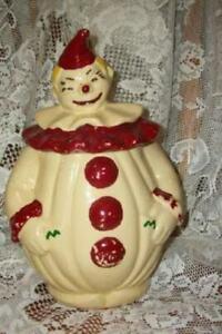 1940s CLOWN COOKIE JAR PAN AMERICAN ART POTTERY COLD PAINT GOOD VINTAGE