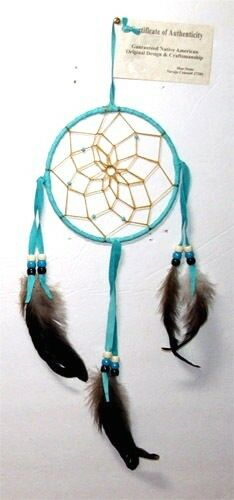 "Dreamcatcher Native American Turquoise Blue 5"" dia hoop FREE SHIPPING #402"