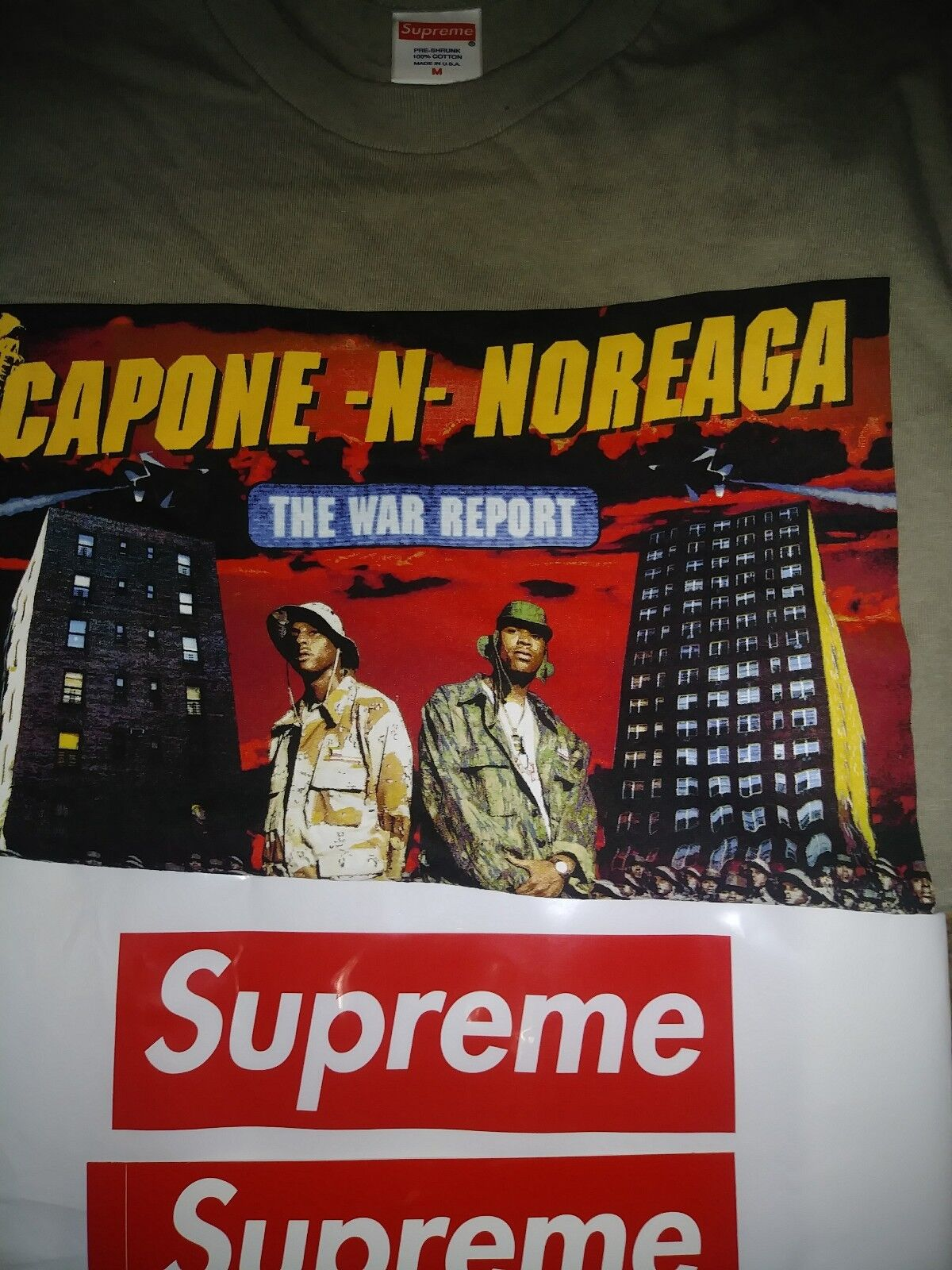 New SUPREME The War Report CNN Capone N Noreaga bogo tee Stone  - Size M Medium