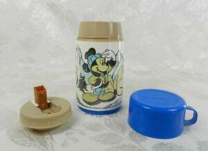 Vtg 1980s Aladdin Thermos Mickey Mouse Pluto Lookout Peak Plastic Disney 8 oz