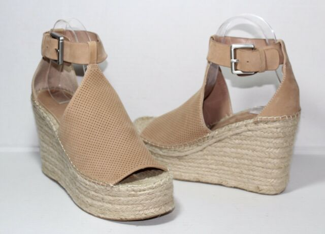 952296f027d Marc Fisher Annie Perforated Espadrille Blush Wedge Sandals Size 7.5