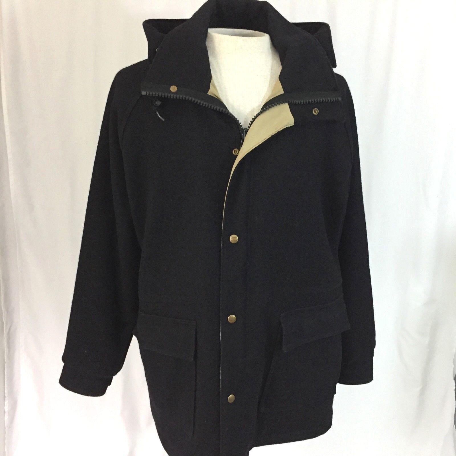 Vintage Woolrich  Herren Large Coat Wool Blend w/Removable Hood Navy Blau