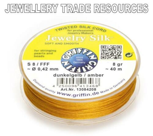 AMBER YELLOW SILK STRING THREAD 0.42mm STRINGING PEARLS BEADS GRIFFIN SIZE 8//FFF