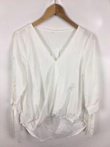 Muy-elegante-senora-blusa-camisa-tamano-xl-blanco-muy-elegante-y-fino-Business