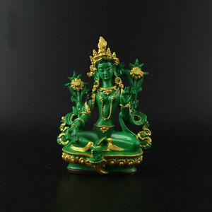 13-5CM-Tibet-Tibetan-Buddhism-Resin-Green-Tara-Kwan-yin-Goddess-Statue