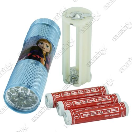 Aluminium 9 LED Torch wd Colours Featuring TV Characters Xmas Gift For Girls 3+Y