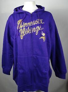 quality design 1b846 07a7c Details about Minnesota Vikings NFL Womens Plus Purple Full ZIp Hoodie XL  2XL 3XL