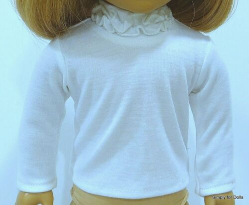 "WHITE Long Sleeve DOLL T-SHIRT w// Ruffles fits 18/"" AMERICAN GIRL Doll Clothes"