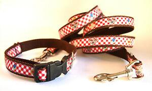 Hund-Halsband-Leine-Set-Alpen-Bayern-Herz-rot-kariert-31-50cm-200-cm-Leine-2381