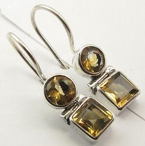 925-Silver-Genuine-CITRINE-Earrings-1-inches-SEMI-PRECIOUS-GEMSTONE
