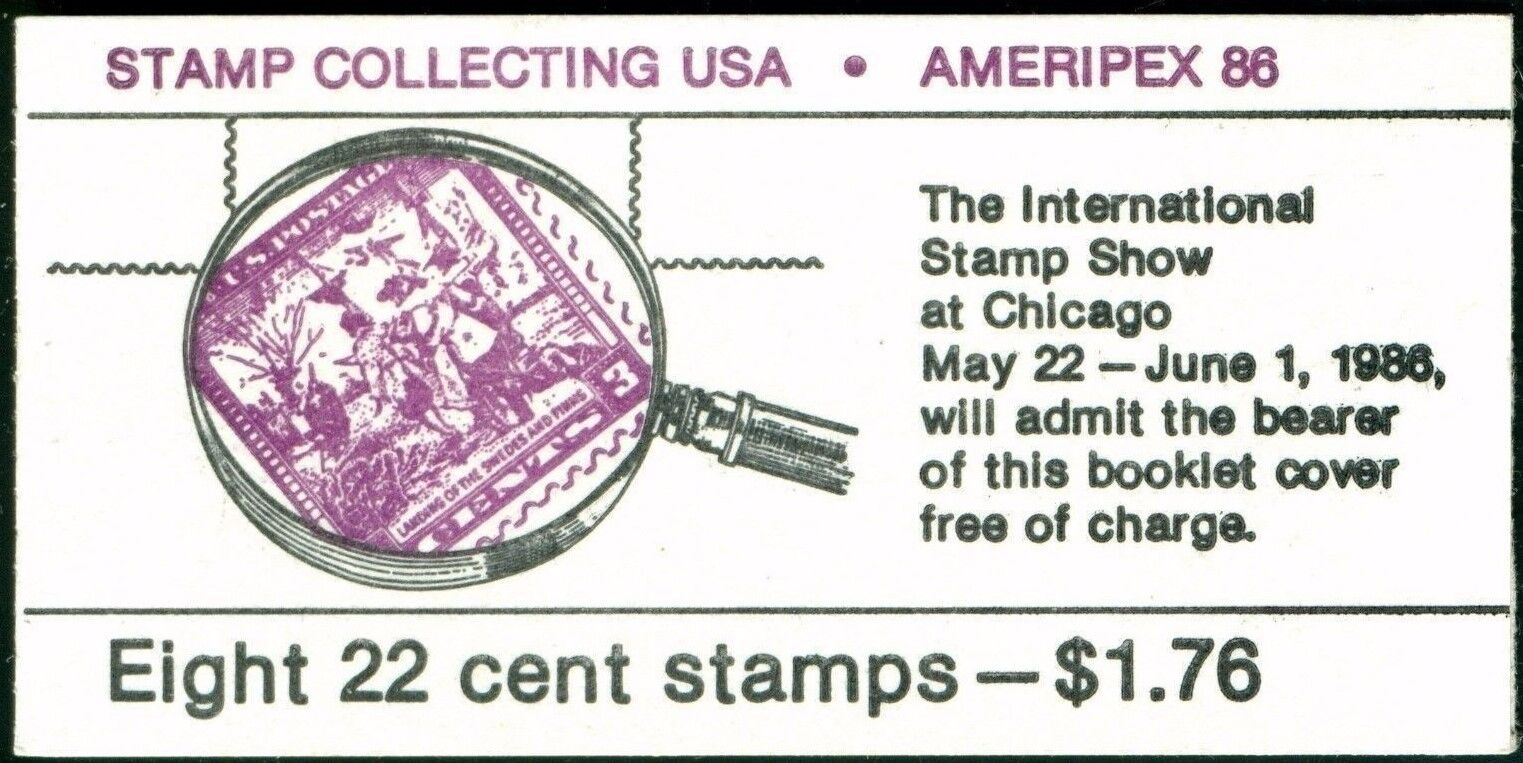 1986 22c Stamp Collecting, Ameripex, Booklet of 8 Scott