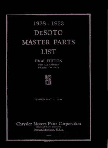 Bishko OEM Repair Maintenance Parts Book Bound for Desoto All Models 1928-1933