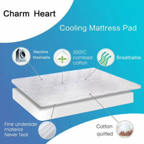 Mattress Topper Bed Pad Pillow Top Overfilled Cotton Cover Deep Pocket Fitted