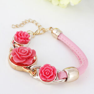 GOLD-TONE-PINK-ACRYLIC-ROSE-FLOWER-BRACELET-WITH-PINK-LEATHER-2-STRAPS