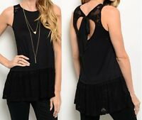 Black Wide Lace Skirted Trim Open Keyhole Tie Back Sleeveless Blouse Top S M L