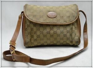 369efa109cd Details about GUCCI Vintage Monogram Canvas with Leather Trim Women's  Crossbody Bag