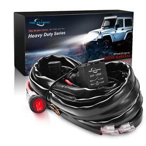 HD-Wire-Harness-LED-Light-Bar-12-Gauge-600W-60A-Relay-Fuse-Blue-Rocker-Switch