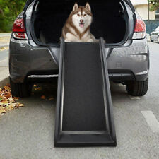 Upgraded Nonslip Car Dog Steps Trucks Lightweight Folding Pet Ladder Ramp with Wide Steps can Support 150 Lbs Large Dogs Cars and SUV Navy Portable Metal Fram Large Dog Stairs for High Beds