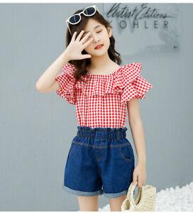 IENENS-Summer-Fashion-Kids-Girls-Clothes-Sets-Tops-Denim-Shorts-Child-Clothing