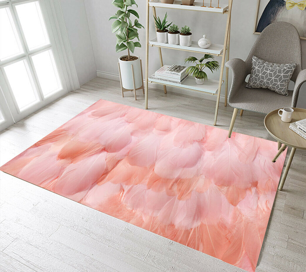 Pink Flamingo Feather Pattern Area Rugs Bedroom Carpet Living Room Floor  Mat Rug