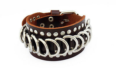 Unisex Punk Metal Circle Rings Buckle Leather Cuff Wristband Bracelet Brown
