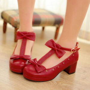 Stylish-Womens-Lolita-Cute-t-strap-bowknot-round-toe-chunky-heel-shoes-full-size