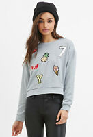 Forever 21 Sequin Patch Sweatshirt Grey Small
