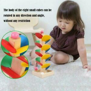 Montessori-Educational-Toy-Wooden-Tree-Marble-Ball-Track-Run-Children-Game-N4U0