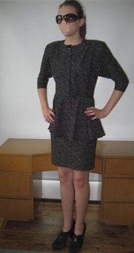 Mad Men Look 60s Secretary wiggle Dolman sleeves schwarz Polka Dot dress 2pc look