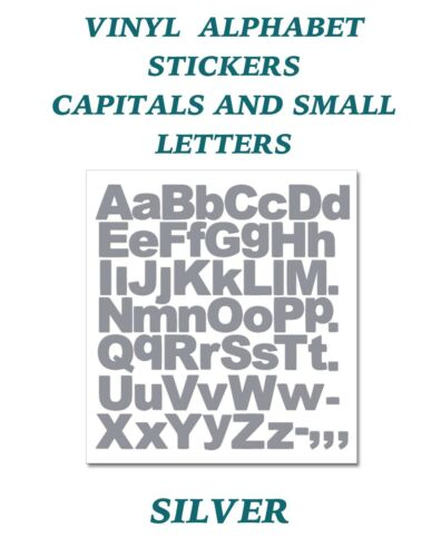 1 x  Set of A-Z Silver Capital /& Small Letters  Vinyl Stickers size 100mm