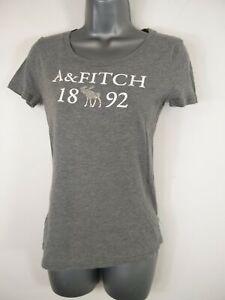 Short-Femme-abercrombie-amp-fitch-gris-col-ras-du-cou-T-shirt-homme-taille-XS