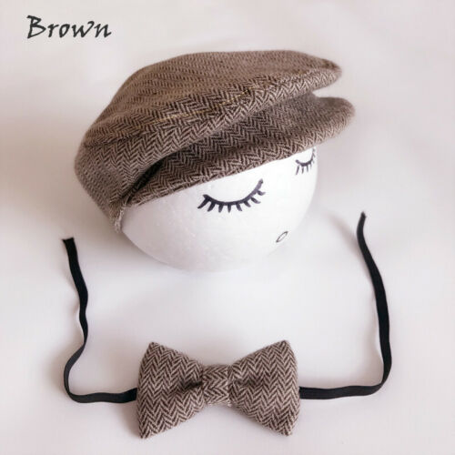 Newborn Baby Boy Peaked Beanie Cap Hat Bow Tie Photo Photography Prop Outfit
