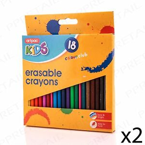 36x assorted colour erasable crayons sharpener rubber restaurant