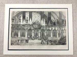 1855-Antique-Print-Queen-Victoria-Royal-Visit-Paris-Railway-Station-France