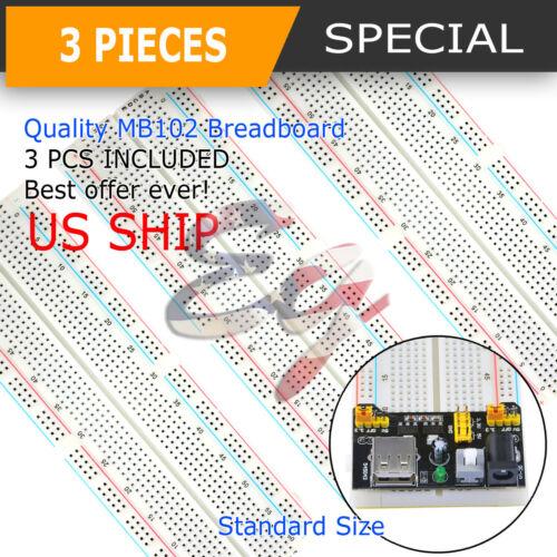 3X MB-102 830 Point Prototype PCB Solderless Breadboard Protoboard US