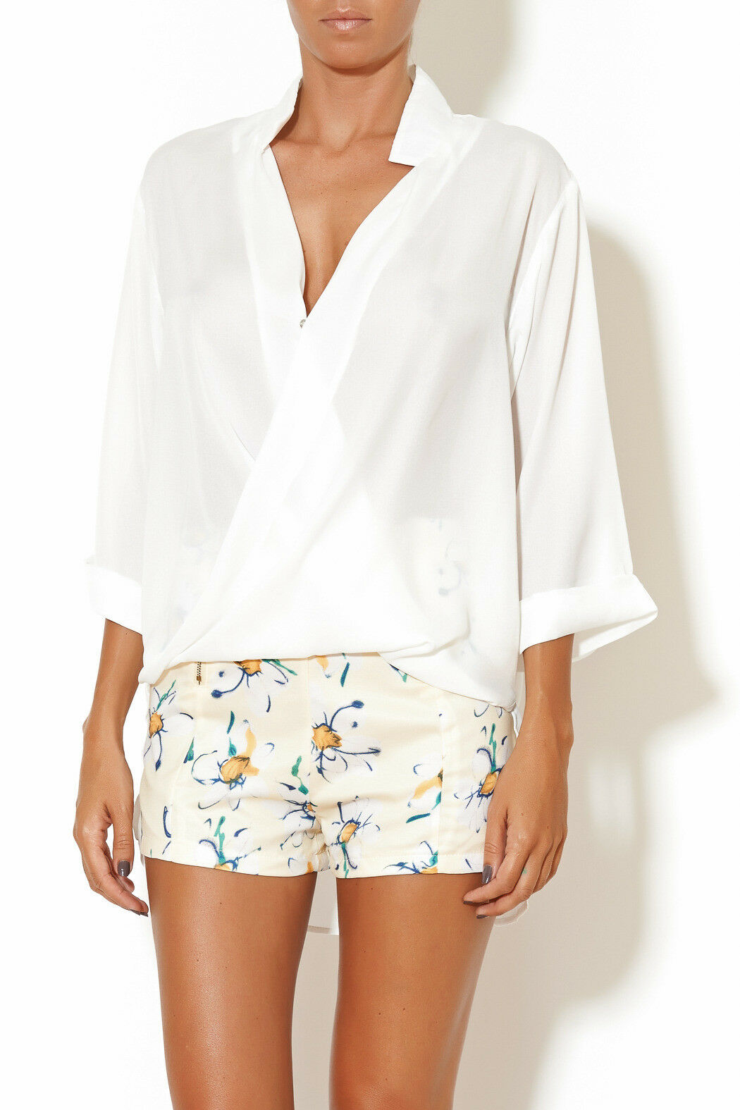 MADISON SQUARE Brand White Plunge Front High Low Blouse Size S BNWT  TL68