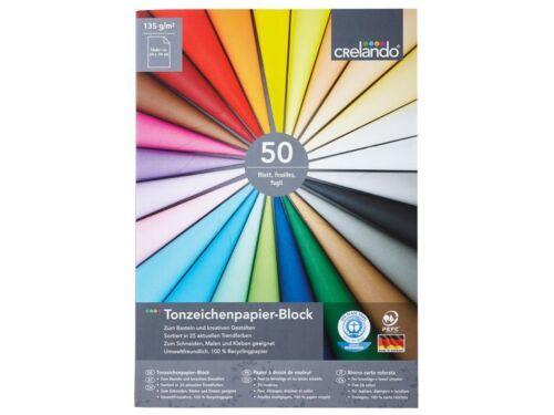 R7 Tonzeichenpapier Block 135 g//m2 50 Blatt farbig NEU