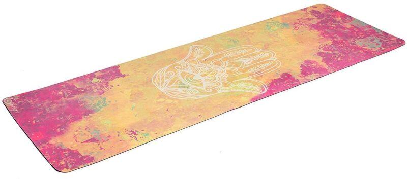 Watercolor Combo Commuter Yoga Mat, Zennery, Hamsa Hand Gold