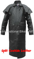 Mens Black Allstate Leather Duster Made Of Split Cowhide Leather-al2603
