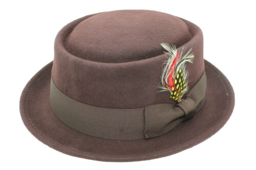 Superb Foldable Brown Pork Pie Trilby Hat With Matching Band 100/% Wool Hand Made