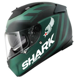 6fd37ea6b58a6 Shark Motorcycle Helmet Speed-R Avenger Matt Green   Black full face ...