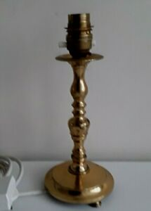 VINTAGE-SOLID-BRASS-TABLE-LAMP-CANDLESTICK-PILLAR-PERIOD-INTERIORS-22CMS-TALL