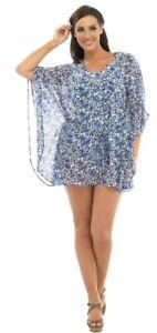Blue-Short-Kaftan-CoverUp-Size-Large-Fits-16-18-20-Animal-Print-Beach-Top-Sarong
