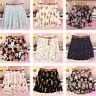 Moda Mujer Retro Talle Alto Gasa Plisada Impresión Transparente Minifalda